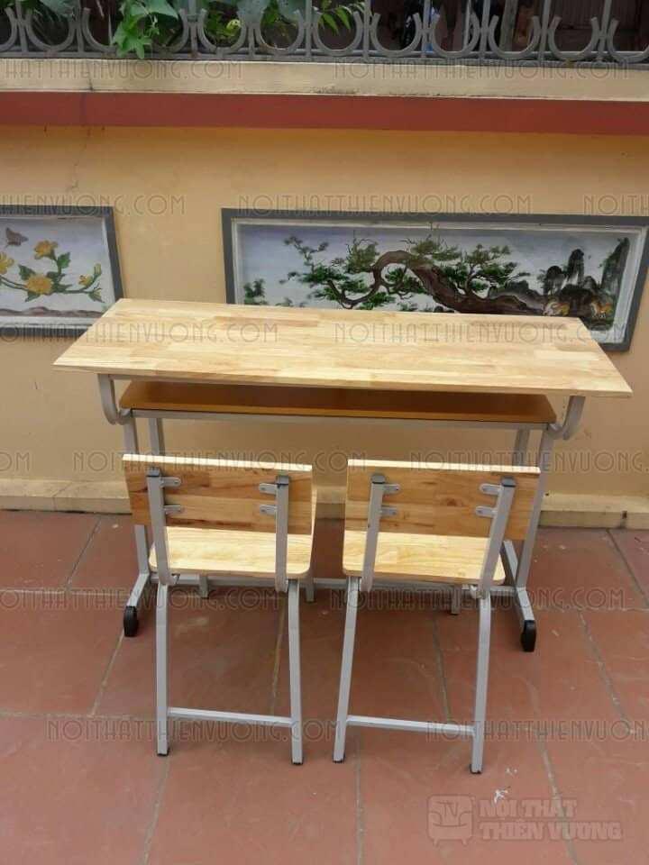 bàn học sinh rời ghế gỗ tự nhiên