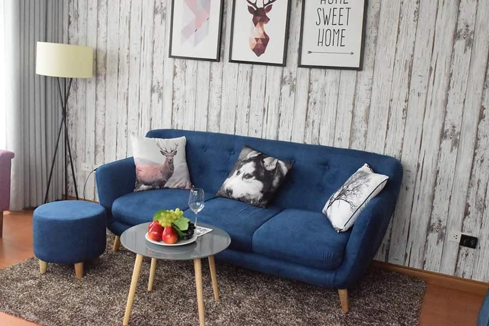 sofa văng nỉ xanh một lớp đệm