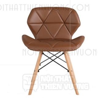 ghế cafe lưng da chân gỗ
