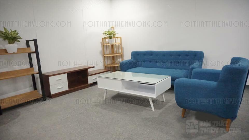 sofa văng xanh da trời 1m8