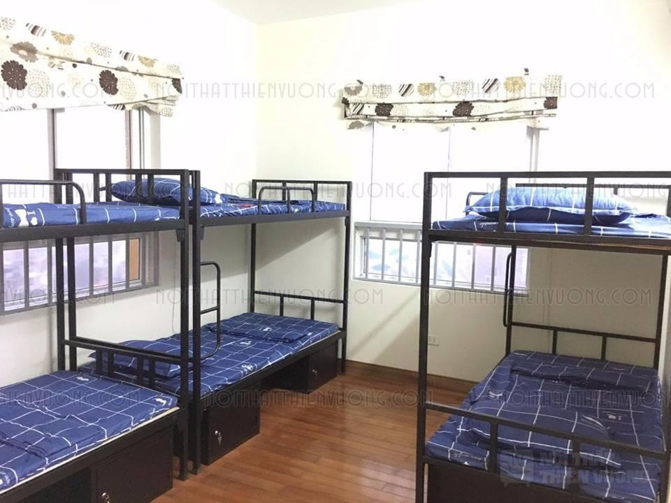 giường sắt 2 tầng đen có hộc giá rẻ